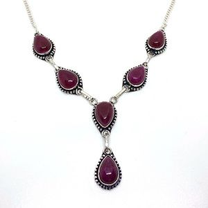 Ruby Gemstone Sterling Silver Necklace